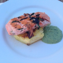 Fruit, Glorious Fruit: Grilled Salmon and Pineapple with Avocado Dressing