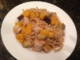 Fall Into Fall with Eggplant, Butternut Squash and Shrimp Spaghetti