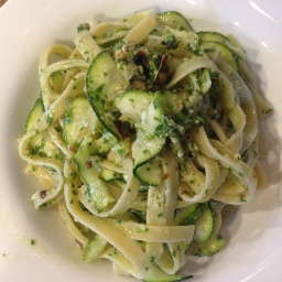 Wind Summer Down with Summer Squash, Pasta, and Arugula-Walnut Pesto